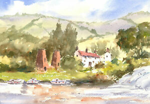 John-A-Case-20th-Century-Watercolour-River-Cottages
