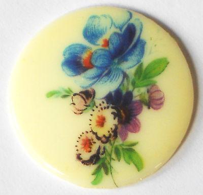 #1387  Vintage Cabochon floral Bouquet Flowers Limoges Style 35mm Cab NOS Glass