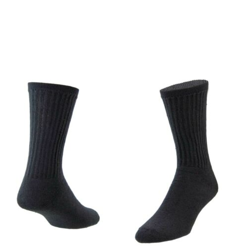 12 PAIRS AMERICAN MADE MENS SOLID BLACK CREW SOCKS SIZE 10-13 MADE IN THE USA