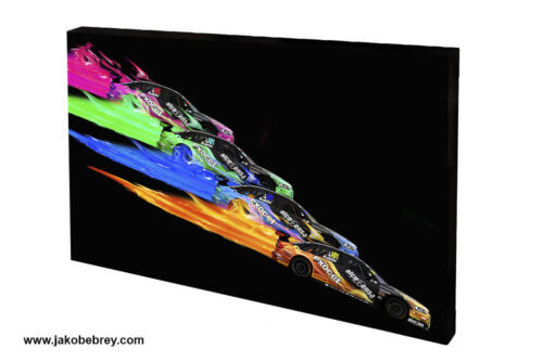 Multi-Coloured Graphic Art Motor Sport Canvas BTCC 2015 Rob Austin Flaming Hue2