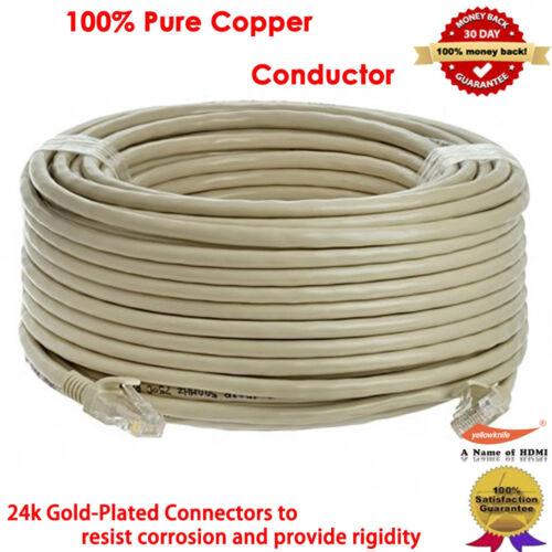 50FT 100FT Gold CAT5E CAT5 RJ45 Ethernet Internet Network Patch Lan Cable Cord