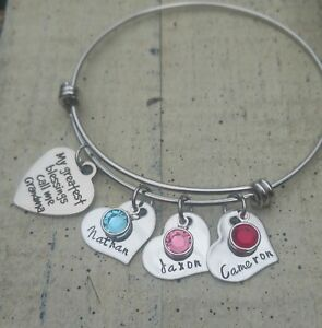 Details About Grandma Bracelet Personalized Name Birthstone Jewelry Hand Stamped Grandchildren