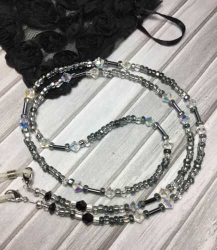 Handmade Black/Clear Crystal Eyeglass Chain/Lanyard W/Swarovski Elements USA