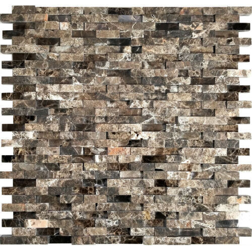Brown Interlocking Pattern Marble Stone Mosaic Tile Kitchen shower Backsplash
