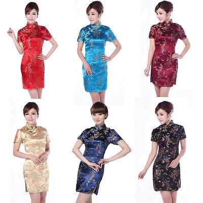 Noble fashion  Women's Dragon&Phoenix Silk Cheongsam Mini Evening Dress Qipao