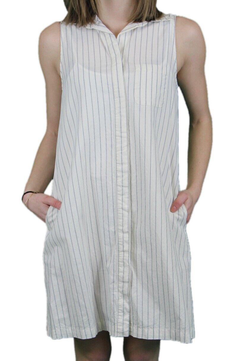 STEVEN ALAN Woherren Blau   Off Weiß Striped Riley Dress WDR0096CT  NWT
