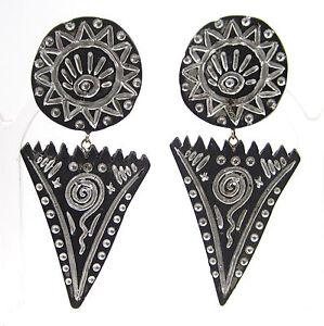 SoHo-Ohrclips-Ethno-Kunstharz-schwarz-silber-bronze-retro-leicht-8-x-4-cm-gross