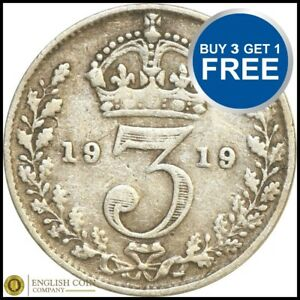 1911-To-1920-George-V-argent-trois-pences-3D-Choix-de-l-039-annee-date