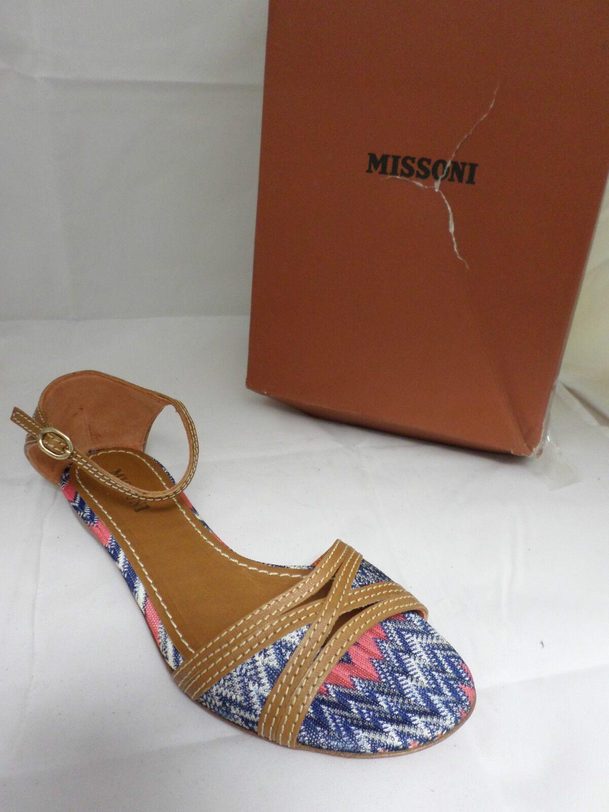 Missoni TM27 Textile Ankle Strap Sandals Blue Size 4 Uk 37 Eur EM 481