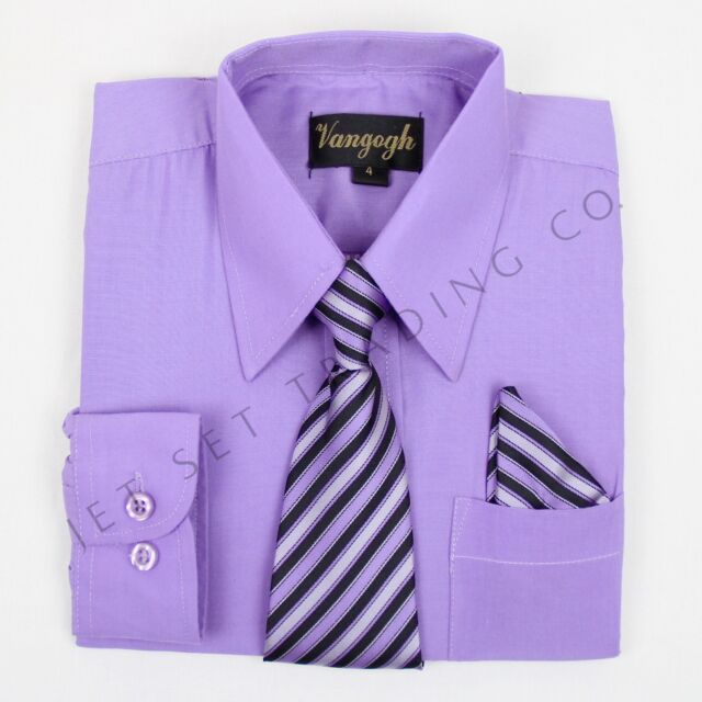 Boys Lilac Dress Shirt with Matching Tie & Hankie Long Sleeves Sizes 4 to 20