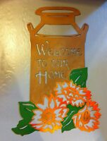 Metal Welcome Milk Can With Sunflowers Wall/porch Decor Hand Crafted Metal