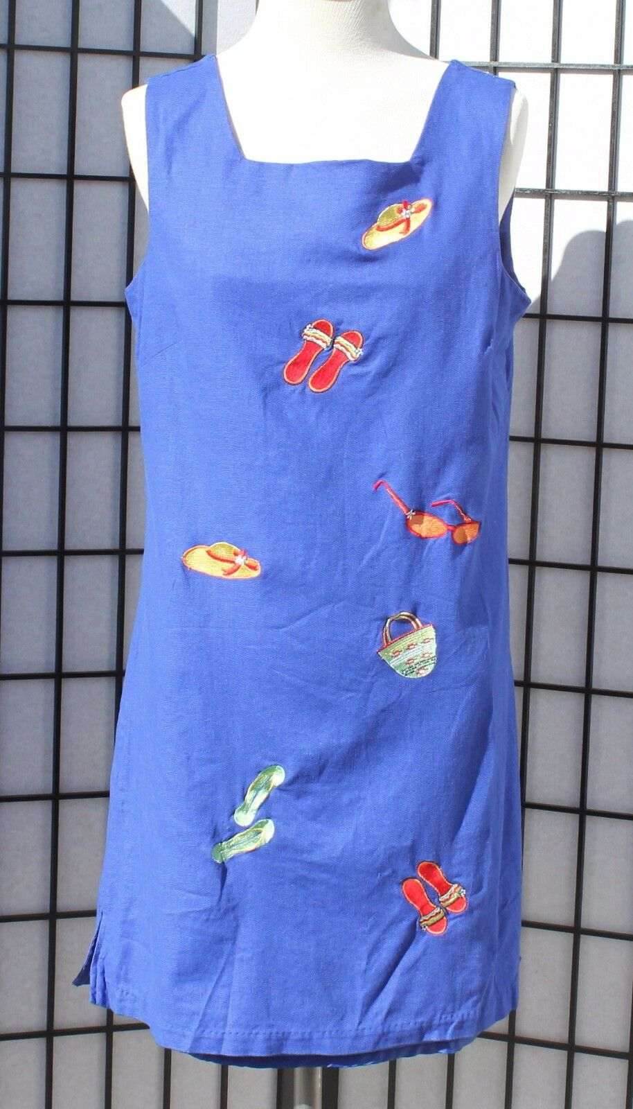 Lily Collection Womens Blue Beach Theme Linen Blend Size Small Dress
