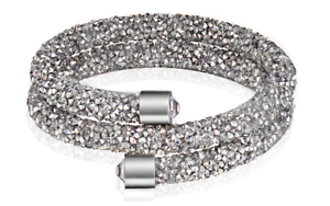 Made-with-Swarovski-Elements-Silver-Crystal-Dust-Double-Wrap-Bracelet-Bangle