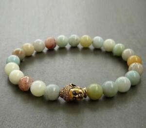 8mm-Natural-Amazonite-green-Bracelet-Chakas-Healing-Handmade-Wrist-yoga