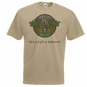 Mens-Khaki-The-Jungle-Is-Massive-T-Shirt-Junglist-Drum-amp-Bass-D-amp-B-TShirt