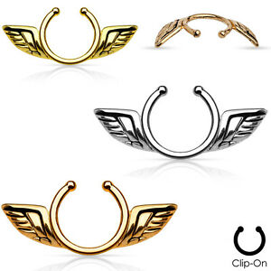 Angel wings design non piercing nipple clip ebay for Angel wings nipple piercing jewelry