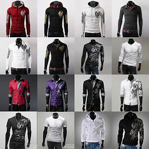 Various Men Tattoo Graphic Printed Slim Fit Hoodie Coat Sweaters ...