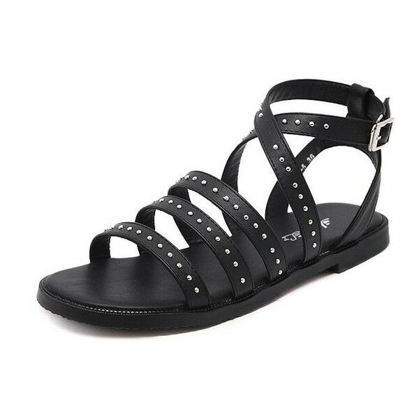 Sandalias países elegantes zapatillas de países Sandalias bajos Colorido negro tachuelas cómodo 778ba4
