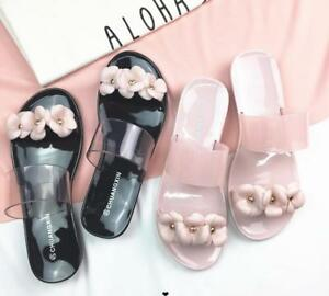 538ad0e1e868 Image is loading Women-Flat-Casual-Jelly-Flower-Slippers-Beach-Sandals-