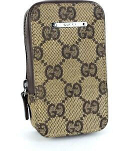 huge discount 98de4 d8cb6 Details about 100% Authentic GUCCI GG Canvas Brown Phone Case Holder Made  In Italy