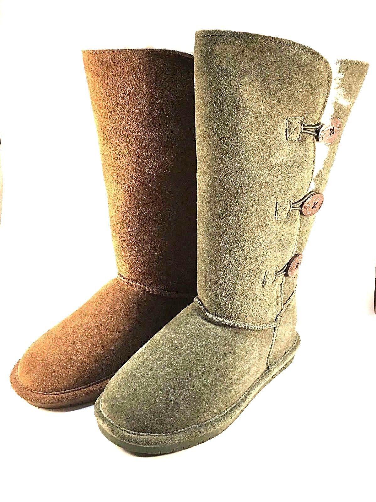 BearPaw Lauren Flat Suede Sheepskin Wool Lining Pull On Boots Choose Sz color