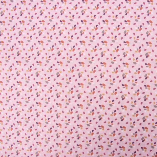 Baumwollstoff ZODRA Tröpfchen Blätter rosa weiß grau rost 1,5m Breite
