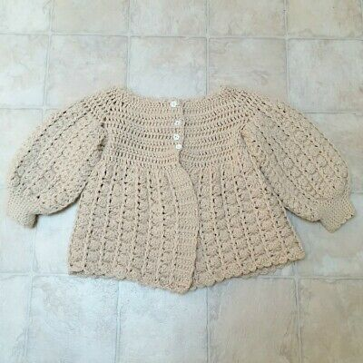 Asis Vintage Girls Sweater Hand Crafted Knit Crochet Baby Cardigan