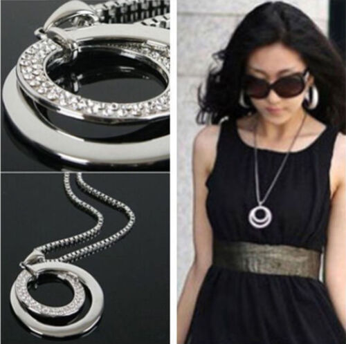 OL Chain Women Fashion Crystal Rhinestone Silver Plated Pendant Necklace Gift