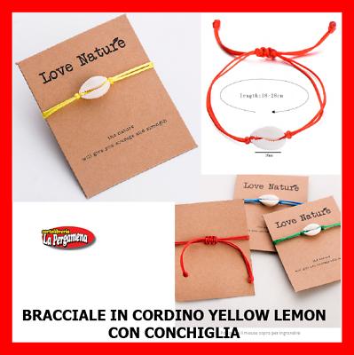 Cavigliera Bracciale Conchiglie Ciprea Con Cordino Colorato Yellow Lemon Vari Stili