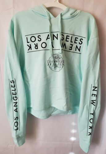 Small Mighty Fine Women/'s Hoodie Sweatshirt Los Angeles // New York NEW