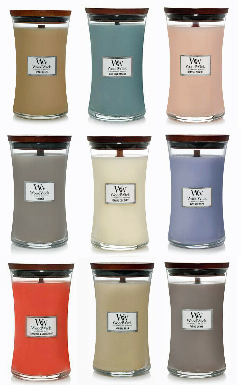 1 Yankee Candle WoodWick LAVENDER VANILLA Large Hourglass Jar Candle 21.5 oz