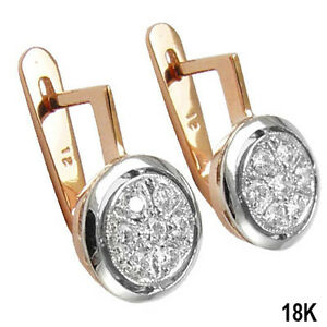 Russian Style Diamond Earrings 18k Rose and white Gold 750 eBay