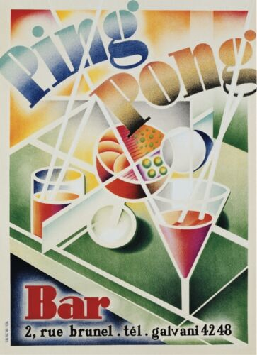 Ping Pong Bar Vintage Deco Table Martini Poster 36x26 GAME ROOM ART PRINT