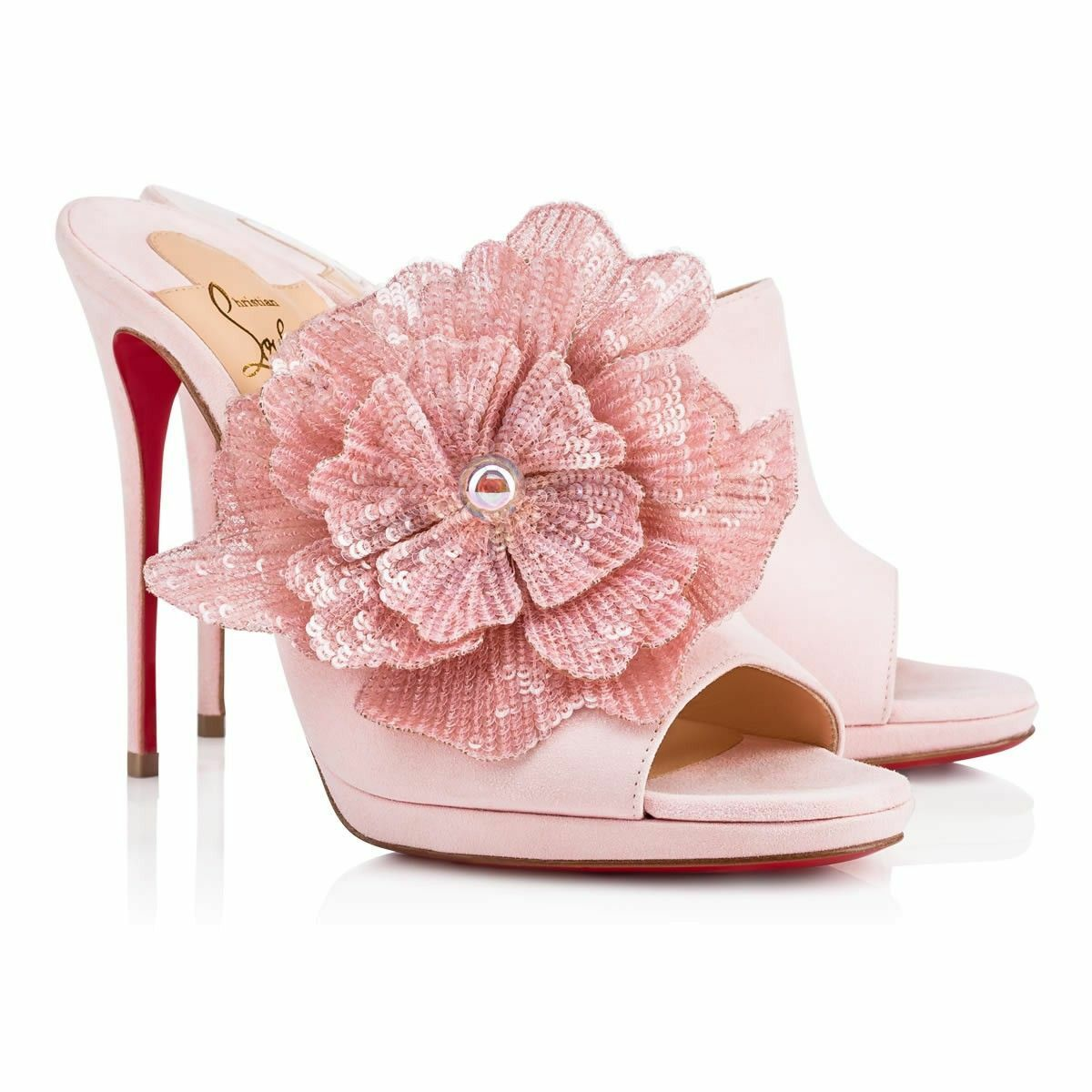 NIB Christian Louboutin Submuline 120 Pink Suede Flower Mule Sandal Heel Pump 38