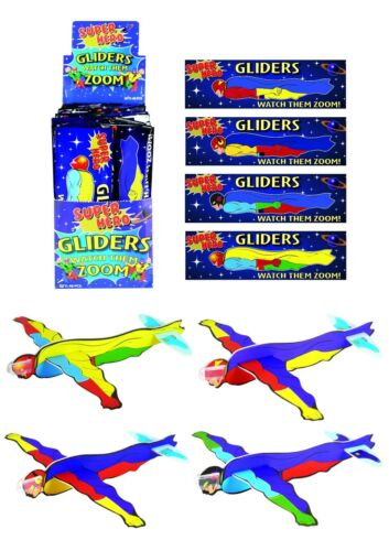 SUPER HERO FLYING GLIDERS Kids Birthday Party Bag Favors Pinata Filler Toy UK