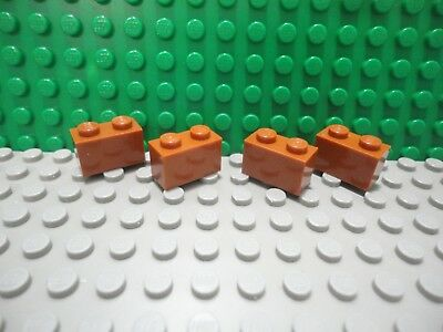 Lego 4 Dark Orange 1x2 brick block NEW