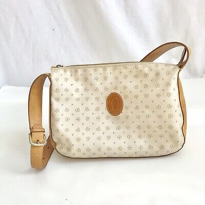 Ivory Tan Logo Zipper Shoulder Bag