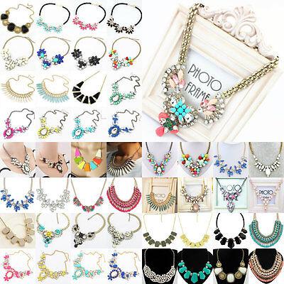 Chic Women's Fashion Crystal Bid Pandent Chain Choker Statement Necklace Jewelry