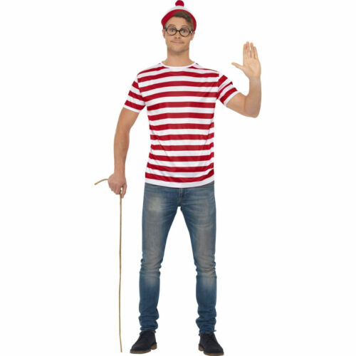 Where/'s Wally Instant Kit Costume with Red /& White Top and Glasses Hat