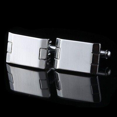 Wedding Rectangle Silver Gift Shirt Men's Cuff Links Stainless Steel Cufflinks