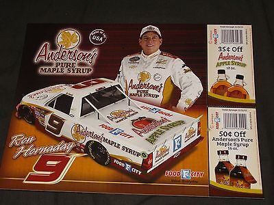 "2012 RON HORNADAY /""ANDERSON/'S MAPLE SYRUP/"" #9 NASCAR /""CWTS/"" POSTCARD"