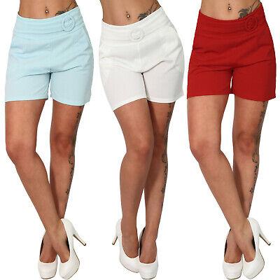Pantaloncini Leggeri Ornamentali Cintura Fibbia Estate Pantaloni Corti Tasche Colorato Basic Pieghe-mostra Il Titolo Originale