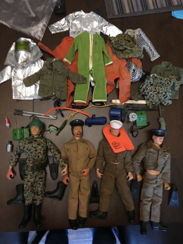 Gi - joe - 4 soldaten plus seltene hubschrauber, kleidung & accessoires sehen muss