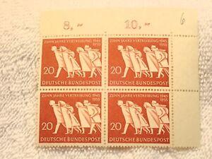 Alemania 1955 20 Pf Bloque De 4 Timbre Nh Og !Magnífico! (10 Años De Refugiados)