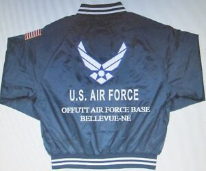 OFFUTT AIR FORCE BASE* BELLEVUE-NE* AIR FORCE EMBROIDERED 2-SIDED SATIN JACKET