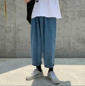 Nuevo Jeans De Hombre Recto Retro De Moda Informal Denim Pierna Ancha Pantalones Sueltos Yh00 Ebay