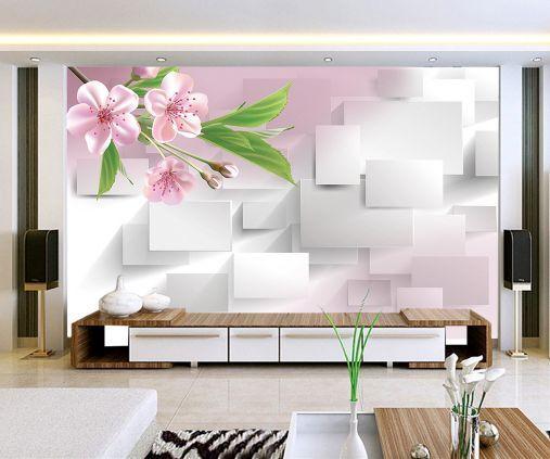 3D Pesco in fiore 23 Parete Murale Carta da parati immagine sfondo muro stampa