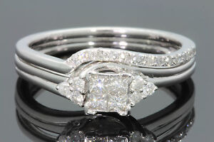 10K-WHITE-GOLD-44-CARAT-WOMEN-DIAMOND-ENGAGEMENT-RING-WEDDING-BAND-BRIDAL-SET