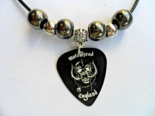 MOTORHEAD //// LEMMY  Guitar Pick Decorated Leather  Necklace   2  To Choose