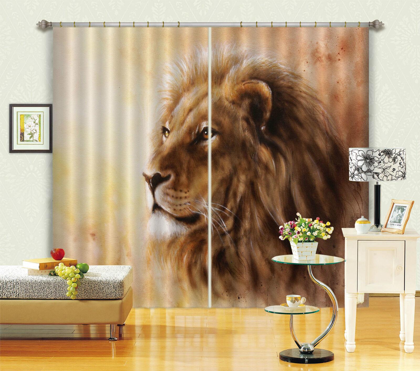 3d Leone pittura 582 blocco foto sipario pressione sipario tende tessuto finestra de